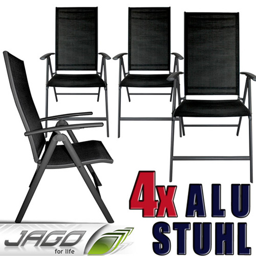 alu stuhl set 4 tlg gartenm bel sitzgruppe garten set st hle klappstuhl dg neu ebay. Black Bedroom Furniture Sets. Home Design Ideas