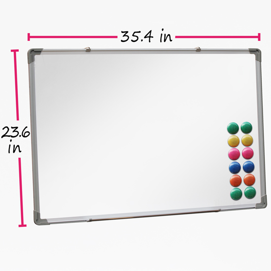Dry-Wipe-Whiteboard-Notice-School-Office-Presentation-White-Board-12-Magnets