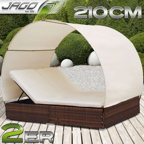 loungeliege rattan mit dach rattan sonnenliege polyrattan lounge gartenliege bra ebay. Black Bedroom Furniture Sets. Home Design Ideas