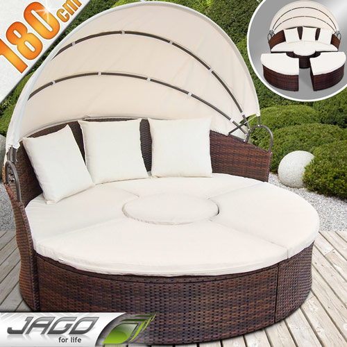 gartenm bel sonneninsel sonnenliege gartenlounge sitzgarnitur rattan lounge neu ebay. Black Bedroom Furniture Sets. Home Design Ideas