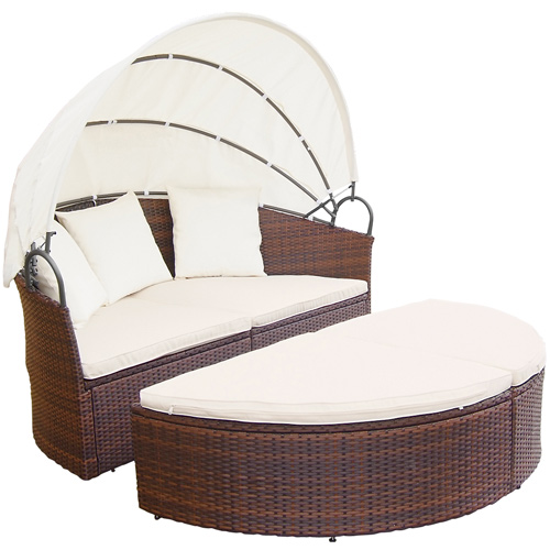 polyrattan sonneninsel gartenm bel sitzgarnitur gartenmuschel sonnenliege 180cm ebay. Black Bedroom Furniture Sets. Home Design Ideas