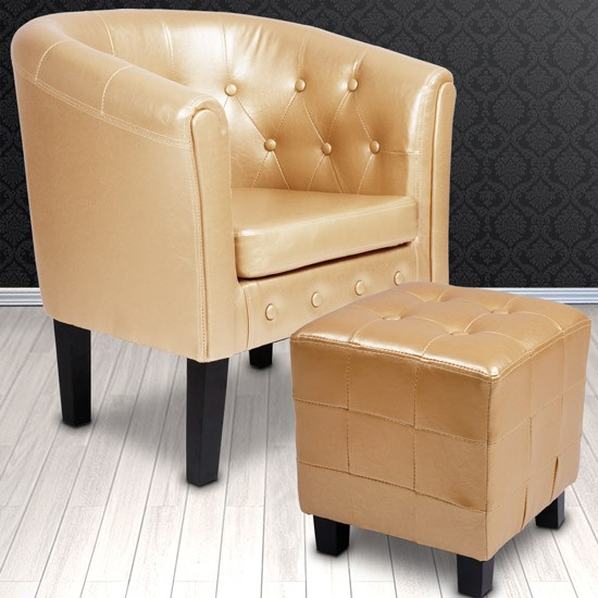 Armchair Tub Chair Stool Set Room Chesterfield Faux Leather Bedroom Furniture