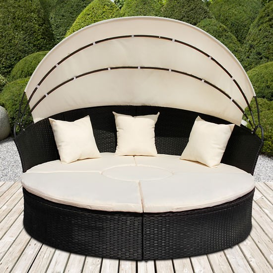 sonneninsel mit tisch rattan sonneninsel polyrattan. Black Bedroom Furniture Sets. Home Design Ideas