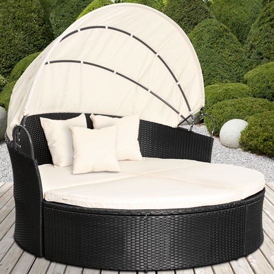 Rattan Daybed Canopy : Rattan daybed sun canopy lounger garden furniture set