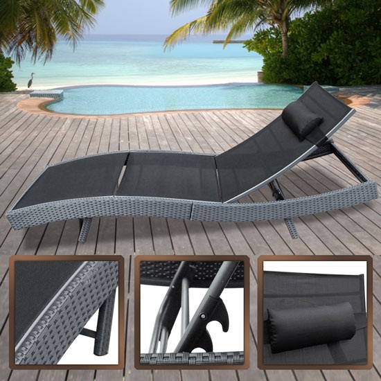 grey rattan sun bed day lounger wicker recliner aluminium garden patio terrace ebay. Black Bedroom Furniture Sets. Home Design Ideas