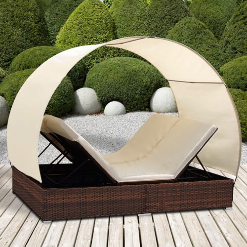 loungeliege rattan mit dach rattan sonnenliege polyrattan lounge gartenliege 2wl ebay. Black Bedroom Furniture Sets. Home Design Ideas